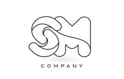 Contorno del profilo di Logo With Thin Black Monogram della lettera del monogramma di MP Fotografia Stock