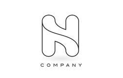 Contorno del profilo di Logo With Thin Black Monogram della lettera del monogramma di N Fotografia Stock