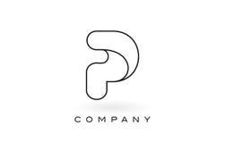 Contorno del profilo di Logo With Thin Black Monogram della lettera del monogramma di P Immagini Stock Libere da Diritti