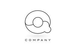 Contorno del profilo di Logo With Thin Black Monogram della lettera del monogramma di Q Immagine Stock Libera da Diritti