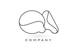 Contorno del profilo di Logo With Thin Black Monogram della lettera del monogramma di QA Immagine Stock