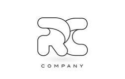 Contorno del profilo di Logo With Thin Black Monogram della lettera del monogramma di RC Immagini Stock Libere da Diritti