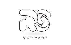 Contorno del profilo di Logo With Thin Black Monogram della lettera del monogramma di RS Fotografia Stock Libera da Diritti