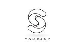 Contorno del profilo di Logo With Thin Black Monogram della lettera del monogramma di S Fotografia Stock Libera da Diritti