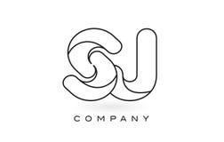 Contorno del profilo di Logo With Thin Black Monogram della lettera del monogramma di SJ Fotografia Stock
