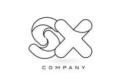 Contorno del profilo di Logo With Thin Black Monogram della lettera del monogramma di SX Fotografia Stock