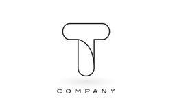Contorno del profilo di Logo With Thin Black Monogram della lettera del monogramma di T Immagine Stock Libera da Diritti