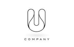 Contorno del profilo di Logo With Thin Black Monogram della lettera del monogramma di U Immagine Stock Libera da Diritti