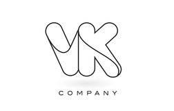 Contorno del profilo di Logo With Thin Black Monogram della lettera del monogramma di VK Immagine Stock Libera da Diritti