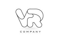 Contorno del profilo di Logo With Thin Black Monogram della lettera del monogramma di VR Immagini Stock
