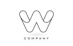Contorno del profilo di Logo With Thin Black Monogram della lettera del monogramma di W Fotografia Stock Libera da Diritti