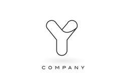 Contorno del profilo di Logo With Thin Black Monogram della lettera del monogramma di Y Fotografia Stock