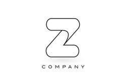 Contorno del profilo di Logo With Thin Black Monogram della lettera del monogramma di Z Fotografie Stock