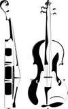 Contorno del violín en blanco y en un fondo negro Fotos de archivo libres de regalías