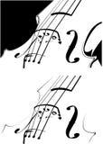 Contorno del violín en blanco y en un fondo negro Imágenes de archivo libres de regalías