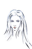 Contorno dell'acquerello dell'illustrazione della testa di una ragazza con capelli lunghi Fotografia Stock