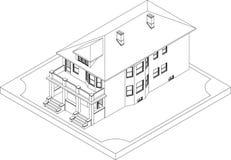 Contorno della casa isometrica Immagini Stock