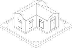 Contorno della casa isometrica Fotografia Stock