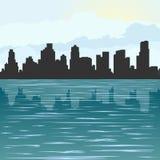 Contorno della città al mare Fotografia Stock Libera da Diritti