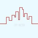 Contorno della città su un fondo blu Illustrazione Vettoriale