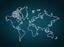 Contorno della mappa di mondo Fotografia Stock