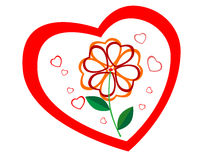 Contorno do coração com uma flor no meio Fotos de Stock Royalty Free
