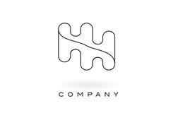 Contorno do esboço de HH Monogram Letter Logo With Thin Black Monogram Imagem de Stock