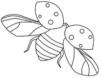 Contorno do ladybug do vôo ilustração do vetor