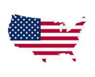 Contorno do mapa da bandeira dos EUA Ilustração lisa do vetor do estilo Imagens de Stock