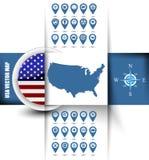 Contorno do mapa dos EUA com ícones de GPS Fotos de Stock Royalty Free