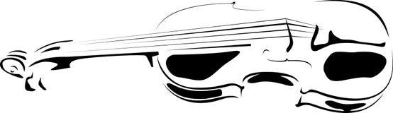Contorno do violino no branco e em um fundo preto Fotografia de Stock