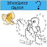 Contorno do withe do jogo de números Patinho bonito pequeno Fotos de Stock Royalty Free