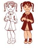 Contorno e silhueta de uma menina Imagem de Stock