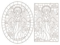 Contorno fijado con los ejemplos de vitrales con los ángeles en un fondo del cielo nublado, contornos oscuros en un backgrou blan ilustración del vector