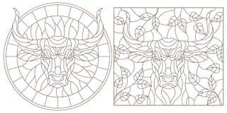 Contorno fijado con los ejemplos de vitrales con la cabeza de un toro, la ronda y la imagen rectangular, contornos oscuros en un  libre illustration