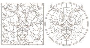 Contorno fijado con los ejemplos de vitrales con la cabeza de una cabra, la ronda y la imagen rectangular, contornos oscuros en u stock de ilustración