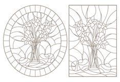 Contorno fijado con los ejemplos de vitrales con los lifes inmóviles, los ramos de narcisos y las frutas, contornos oscuros en u libre illustration