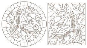 Contorno fijado con los ejemplos de vitrales con los pájaros en el fondo de las ramas y de las hojas, contornos oscuros en a libre illustration