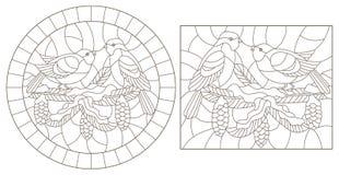 Contorno fijado con los ejemplos de vitrales con los pájaros en las ramas del pino, contornos oscuros en un fondo blanco stock de ilustración