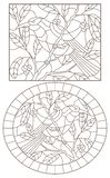 Contorno fijado con los ejemplos de vitrales con los pájaros en un fondo de las hojas y de las bayas, contornos oscuros en una pi ilustración del vector