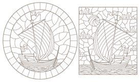 Contorno fijado con los ejemplos de vitrales con los veleros viejos, contornos oscuros en un fondo blanco stock de ilustración