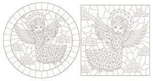 Contorno fijado con los ejemplos del vitral con ángeles, de la ronda y de la imagen rectangular, contornos oscuros en un fondo bl libre illustration