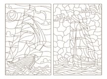 Contorno fijado con los ejemplos del vitral, del paisaje marino, de las naves que navegan en el fondo del cielo nublado y del sol libre illustration
