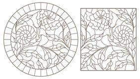 Contorno fijado con los ejemplos en el caracol y la flor, esquema oscuro del estilo del vitral en un fondo blanco libre illustration