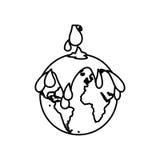 contorno monocromático com contaminação da terra com chuva do petróleo ilustração do vetor