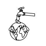 contorno monocromático com watertap com contaminação da terra com chuva do petróleo ilustração do vetor
