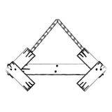 contorno monocromático del tablero de madera de la muestra de la forma de la flecha con las cadenas Foto de archivo