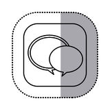 contorno monocromatico con l'autoadesivo quadrato dell'icona dei fumetti Immagine Stock Libera da Diritti