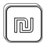 contorno quadrato monocromatico con il simbolo di valuta dello shekel dell'Israele Immagini Stock