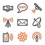 Contorno s de los iconos del Web de la comunicación, anaranjado y gris